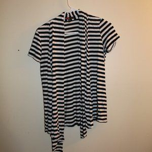 Black White Striped Open Front Cardigan Small